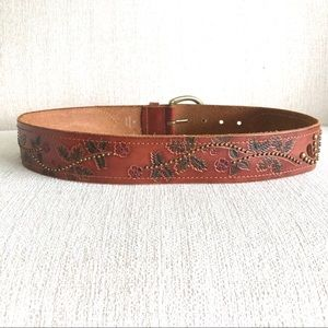 Brown Leather Belt with Floral Stamped Details